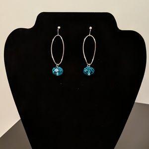 Oblong Twist Hoop Earrings with Blue Beads